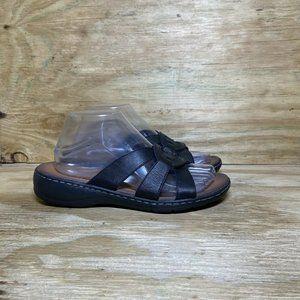 Skechers Luxe Foam Sandals Womens Size 8 Black Wedge Slide Slip On Comfort